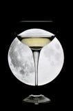 Glas Champagner unter einem Vollmond Lizenzfreie Stockbilder