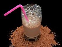 Glas de Melk van de Chocolade stock afbeelding