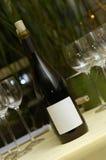 Glas del en del bottel del vino Foto de archivo libre de regalías