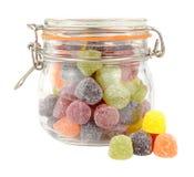 Glas der Frucht-Gummi-Süßigkeit stockfoto