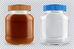 Glas der Schokoladenverbreitung und des leeren Glasgefäßes realistisches Modell des Vektors 3d stock abbildung