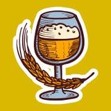 Glas der Weizengetränkikone, Handgezogene Art lizenzfreie abbildung