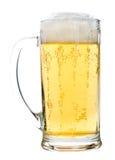Glas des hellen Bieres mit Schaumgummi stockfoto