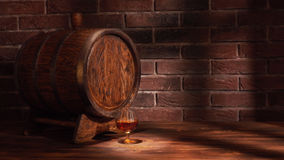 Glas des Kognaks mit Fass auf Holztisch Stockfotos