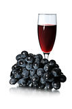 Glas des Rotweins und des Bündels Stockbilder
