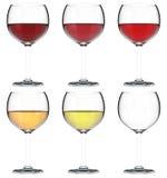 Glas des Satzes des Wein-3D Stockbilder