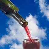 Glas des Weins und der Flasche Weins gegen den Himmel Lizenzfreie Stockfotos