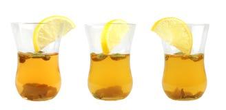 Glas drie groene thee Royalty-vrije Stock Afbeeldingen