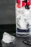 Glas Eis mit Beerenstachelbeerroten Schwarzen Johannisbeeren und -wasser Auffrischungscocktail Orange und Carafe mit Zitrusfrucht Lizenzfreies Stockbild
