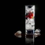 Glas Eis mit Beerenstachelbeerroten Schwarzen Johannisbeeren und -wasser Auffrischungscocktail Orange und Carafe mit Zitrusfrucht Lizenzfreies Stockfoto