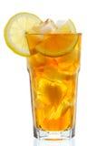 Glas Eistee mit Zitrone Stockbild