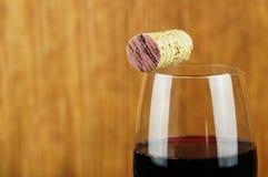 Glas en cork van fijne Italiaanse rode wijn Stock Afbeelding