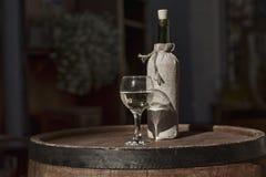Glas en een fles witte wijn Stock Afbeelding