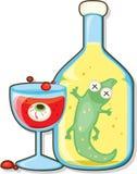 Glas en fles Stock Foto's