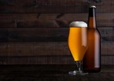 Glas en fles gouden lagerbierbier met schuim Stock Foto's