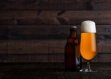 Glas en fles gouden lagerbierbier met schuim Stock Fotografie