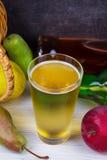Glas en flessen cider Appelen en peren Royalty-vrije Stock Fotografie
