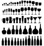 Glas en flessenreeks Royalty-vrije Stock Afbeeldingen