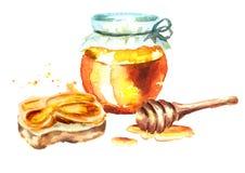 Glas en sandwich met Verse honing Waterverfhand getrokken illustratie Royalty-vrije Stock Afbeeldingen