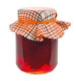 Glas Erdbeermarmelade lokalisiert Stockfotos