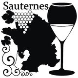 Glas für weißen französischen Wein - Sauternee Stockfoto