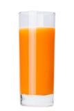 Glas frischer Karottensaft Getrennt auf weißem Hintergrund Lizenzfreies Stockbild