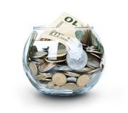 Glas Geld getrennt Lizenzfreies Stockfoto