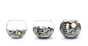 Glas Geld wie ein Diagramm getrennt Stockbilder