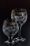 Glas/glas- op een zwarte achtergrond Stock Foto
