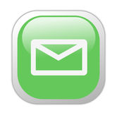glas- grön symbolsfyrkant för e-post Arkivfoto