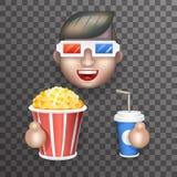 Glas-große Popcorn-Sodawasser-männliche Guy Man Boy Character Realistic-Karikatur-flache Design-Vektorillustration des Kino-3D Stockfoto