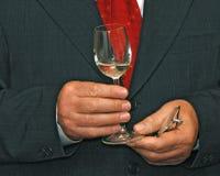 Glas in handen Royalty-vrije Stock Afbeelding