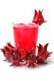 Glas heerlijk rosellesap met verse roselle royalty-vrije stock fotografie