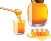 Glas Honig, Querneigung des Honigs, Honigschöpflöffel Lizenzfreies Stockbild