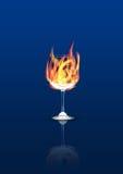 Glas im Feuer Stockfoto