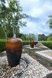 Glas im Garten Stockfotografie