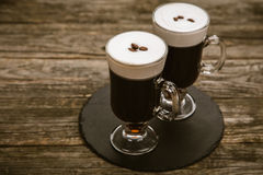 Glas Irish coffee stock foto