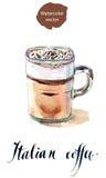 Glas Italiaanse koffie Royalty-vrije Stock Foto's