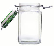 Glas jar. Open empty glass jar isolated on white Stock Photography