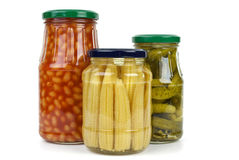 Glas jars with vegetables Stock Image