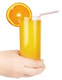 Glas jus d'orange Stock Afbeelding