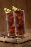 Glas Kolabaum mit Eis Stockfotografie