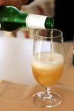 Glas koud bier dat vanaf de fles vult Royalty-vrije Stock Foto