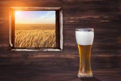 Glas koud bier op een bruine houten achtergrond Mening bij het tarwegebied royalty-vrije stock foto's
