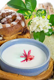 Glas melk en brood Stock Fotografie