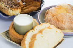 Glas melk en brood Royalty-vrije Stock Afbeelding