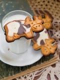 Melk met koekje stock afbeeldingen