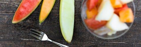 Glas of melon salad Royalty Free Stock Photos