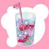 Glas met exotische cocktail vectorillustratie stock afbeelding