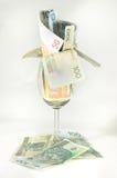 Glas met geld Stock Afbeelding